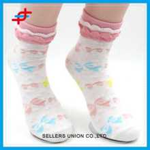 Girl Style Colorful Cute Lace Pattern Tube Socks For Wholesale