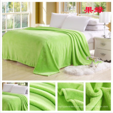 Green Color Cheap and High Quality Flannel Fleece Blanket