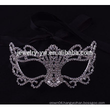 fashion metal silver plated crystal masquerade party mask for women