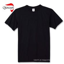 Algodão Preto Blank T-Shirts 100% Algodão Tecido