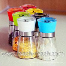 Molino de cocina Material de vidrio manual, sal y pimienta de molino (R-6054)