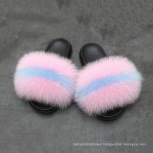 Wholesale custom indoor slipper luxury style women fur flat slides fox fur slipper comfortable cute high quality