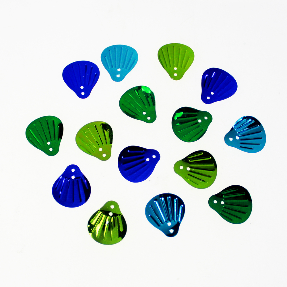 Shell shape assorted color sequin