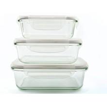 Conjunto de recipiente de comida de vidro borosilicato retangular hermético