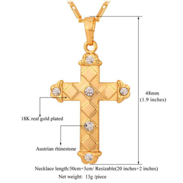 Latin Cross Pendant 2015 New Trendy Platinum/18K Gold Plated Rhinestone Unisex Women/Men Jewelry Wholesale Pendant Necklace