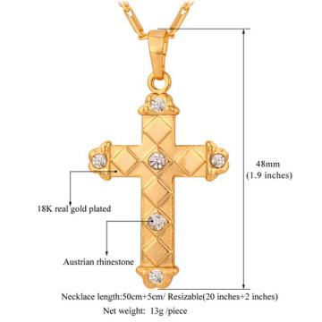 Латинского креста Кулон 2015 новых модных платины / 18K золото покрытием горный хрусталь унисекс женщин/мужчин ювелирные изделия оптовая кулон ожерелье