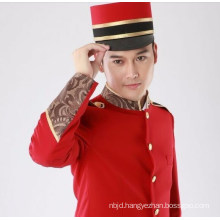 Red Hotel Uniform for Men Hotel Reception Uniform for Waiter