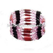 "Magnetic Pink Acrylic Beaded Wrap Beaded Bracelet 36 """