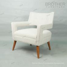 Chaise en bois cadre moderne tissu unique siège canapé hôtel lounge chaise