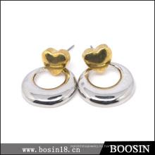 Изготовленный На Заказ Металл Полые Круг Золотые Серьги #21801