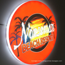 Advertising led lightbox round signs luminous outdoor waterproof acrylic 3d light box acrylic sign