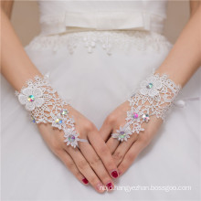 Sexy fingerless beaded lace appliques high quality lady wedding lace glove