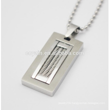 Cool unique silver mens Casual/sporty rectangle pendant charm necklace with steel wire