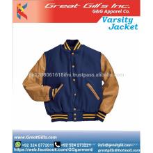 Rindsleder Ärmel Wolle Körper Uni-Jacke, Großhandel Wolle Körper Leder Ärmel Letterman Jacke, billige Wolle