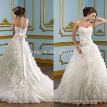 NY-2425 Vestido de casamento em tuleira com babados