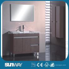 Vanidad de cuarto de baño de la melamina del piso con el gabinete del espejo