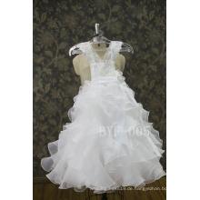 Neue Ankunft reizende Bandblumenperlendekorationen Hochzeitsblumenmädchenkleid