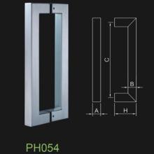 Punho de porta de vidro com tubo quadrado de aço inoxidável