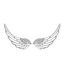 Brincos de asas de ângulo de prata sólido design 925 sólido