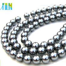Mode charme argent rond perles de verre en vrac DXLA30