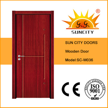 Dormitorio de diseño económico a ras de suelo con puerta de madera (SC-W036)