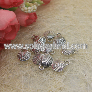 35MM Antique Silver Plated Seashell Clamshells Charm Pendant