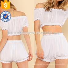 Frilled Crople Crinkle Top & Shorts Set Fabricação Atacado Moda Feminina Vestuário (TA4025SS)