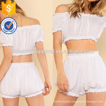 Frilled Crop Crinkle Top & Shorts Set Manufacture Wholesale Fashion Women Apparel (TA4025SS)