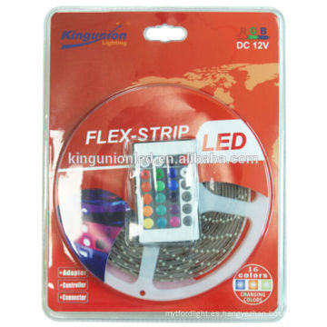 Kit de luz de tira del LED y paquete de la ampolla de la luz de tira del LED con el regulador y el telecontrol