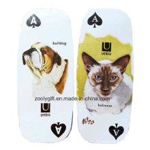 Tarjeta de juego larga ovalada del troquel / modificada para requisitos particulares Tarjeta del juego del papel del regalo de la promoción del perro de animal doméstico