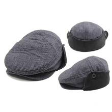 Hiver Plaid Flat Gatsby Chapeau HOY Cap avec Earflap