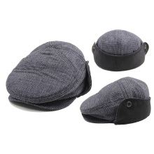 Winter Plaid Flat Gatsby Hat IVY Cap with Earflap