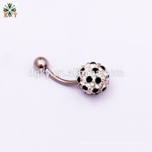 Any Size Colorful Crystal 316 St Navel Ring football Gem ball belly ring