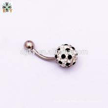 Any Size Cristal colorido 316 St anel do umbigo anel de futebol da bola de gem bola de futebol