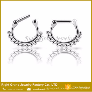 316L Surgical Steel Septum Brass Beaded Nose Ring Clicker Piercing