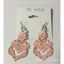 5A Fashion Jewelry Pink Lace Earrings with Metal