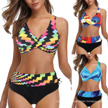 Bikini Set Women High Waist Plus Size Print Padded Swimsuit