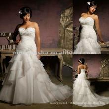NY-2413 bordado bordado NCrystal em vestido de casamento Organza
