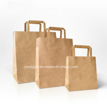 Durable Kraft Paper Shopping Bag with Flap Paper Handle