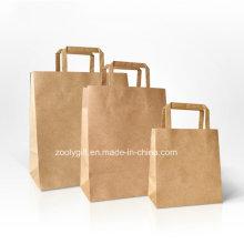 Saco de compras de papel Kraft durável com alça de papel Flap