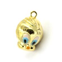 Moda pequena pato amarelo em forma de pingente de pingente encantos para o keychain