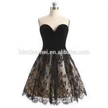 2017 new arrival women's evening dress off shoulder short design blackcolor patterns of lace evening dress for wedding and party
