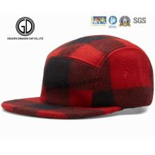 Excelente 5 paneles comprobados rojo y negro de lana Camper Strapback Cap
