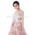 2017 último diseño flor preciosa impresa rosa gasa puffy vestido de boda de cola larga alibaba vestido de novia