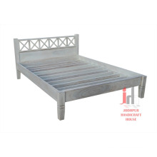 White Distressed Bed