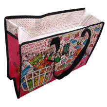 Cartoon PP Lamination Nonwoven Shoulder Zipper Bag for Shopping