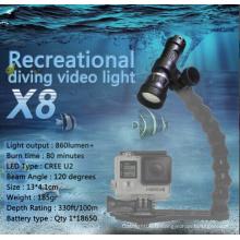 Vidéo extérieure de la torche de plongée grand angle Gopro en plein air
