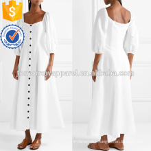 Hot Sale White Three Quarter Length Sleeve Midi Summer Dress With Buttons Manufacture Wholesale Fashion Women Apparel (TA0245D)