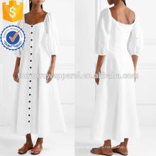 Горячая Продажа Белый три четверти длины рукава Миди летнее платье с пуговицами оптом производство модной женской одежды (TA0245D)
