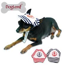 Sailor Mode Hund Haustier Hund Katze Baumwolle Hut Sport Baseball Stripe Cap mit Ohrlöchern